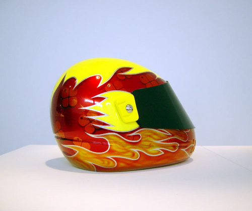 Patricia Piccinini Speed Boy Yellow, 2003; from the series Team WAF (Precautions); fibreglass, polycarbonate, automotive paint; dimensions variable; enquire