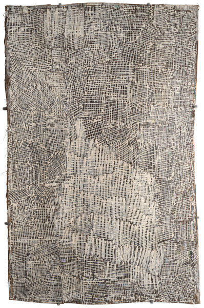 Nyapanyapa Yunupingu Untitled, 2015; 4786R; natural earth pigments on bark; 75 x 50 cm; enquire