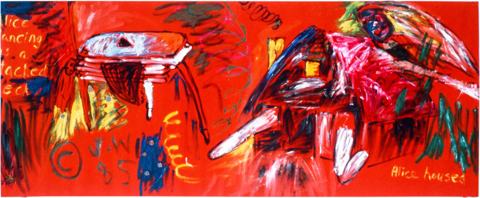Jenny Watson Psychedalice Dancing as a Stacked Deck & Housed, 1984; oil on velvet; 91 x 203 cm; enquire