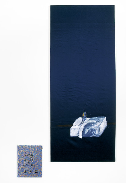 Jenny Watson Long night of the soul II, 2004; 2 panels: acrylic on Indian cotton, acrylic on Indian brocade; 2 panels: 190 x 80cm, 40 x 30.5cm; enquire