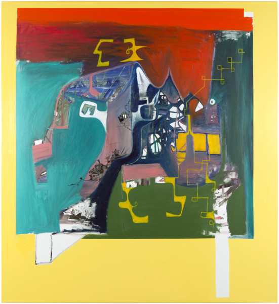 Gareth Sansom History lesson, 2014; oil and enamel on linen; 183 x 168 cm; enquire