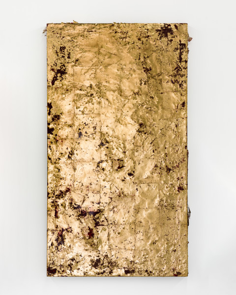 Kirtika Kain The Solar Line IV, 2020; Gold leaf, sindoor pigment, beeswax, archival adhesive, disused silk screen; 125 x 69 cm; enquire