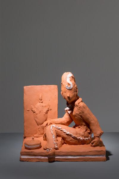 Linda Marrinon Figure with relief, 2017; terracotta; 20 x 20 x 12 cm; enquire