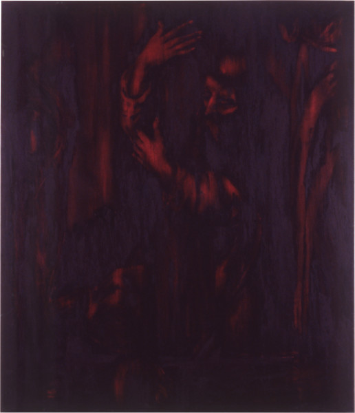 Lindy Lee Of Fear and Exultation, 1988; oils and wax on canvas; 175 x 134 cm; enquire