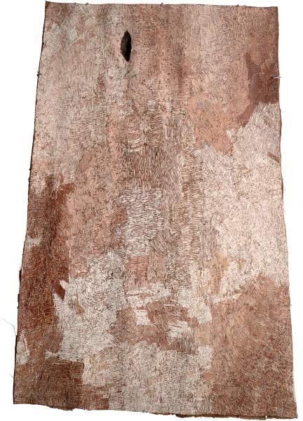Nyapanyapa Yunupingu Untitled, 2015; 4827U; natural earth pigments on bark; 157 x 103 cm; enquire