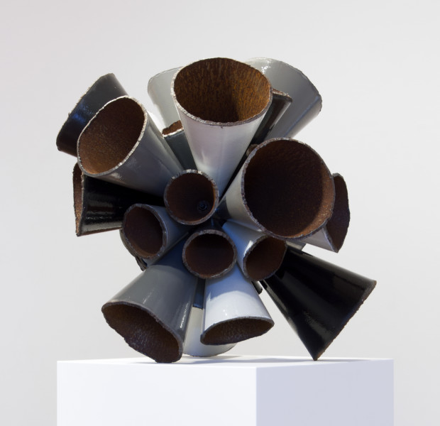 James Angus Grayscale Pipe Burst, 2015; Unique from series of 2: grayscale / polychrome (small version); steel, enamel paint; 85 x 85 x 85 cm; 180 kg; enquire