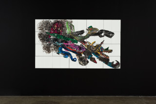 installation view; Pierre Mukeba (Baby Folklored Dragon), 2021; charcoal and pastel on archival paper; 120 x 210 cm; enquire
