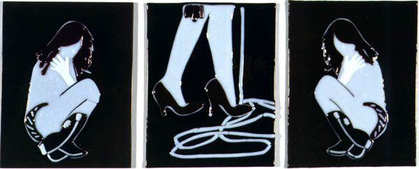 Kathy Temin Frozen, Staged and Abstracted Moment: Triptych, 2, 2002; fused glass; 26 x 20 cm; 26 x 66 overall; enquire