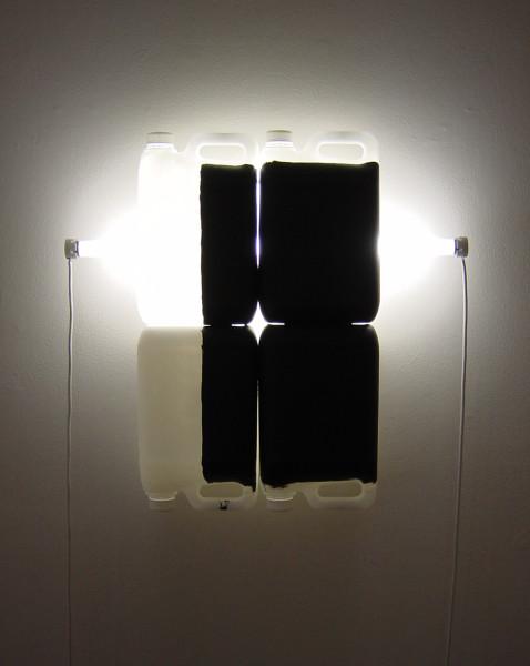 Bill Culbert Black on White VI, 2004; fluorescent lights, electrical cords, plastic bottles, acrylic paint; 58 x 62 x 13 cm; enquire