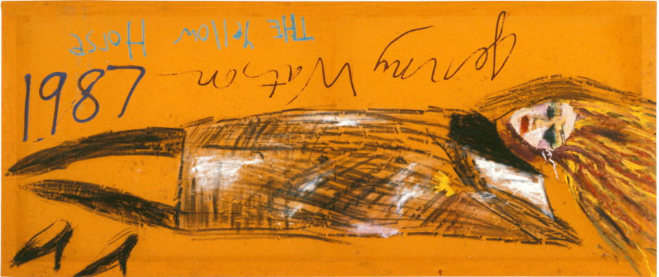 Jenny Watson The Yellow Horse, 1987; oil stick, oil, gouache, acrylic on Indian cotton; 76 x 183 cm; enquire