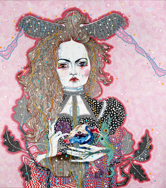 Del Kathryn Barton the daughter, 2012; acrylic, gouache, watercolour and ink on polyester canvas; 163 x 143 cm; enquire