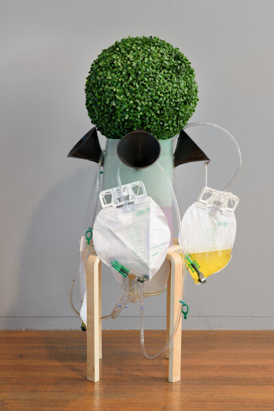 Dale Frank Allied on-ramp public liquid Nitrogen making machine (urinal for men), 2019; Ikea stool, plastic topiary ball, solid resin, catheters, urine bags, plastic funnels; dimension variable; enquire