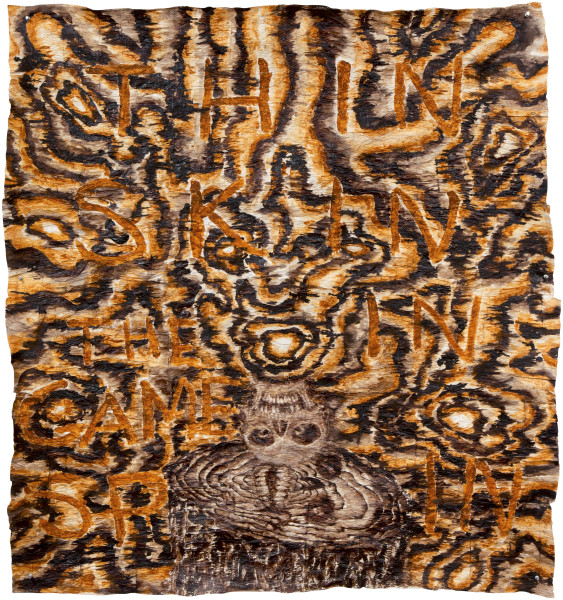 Fiona Hall Skin in the Game, 2013; bark cloth with earth pigments and plant dyes; 140 x 126 cm; enquire