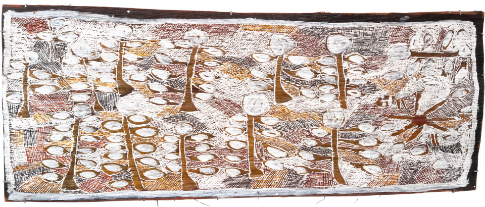 Nyapanyapa Yunupingu 8. Camping in the Orchard, 2009; 3513Y; Natural earth pigments on bark; 156 x 64 cm; enquire