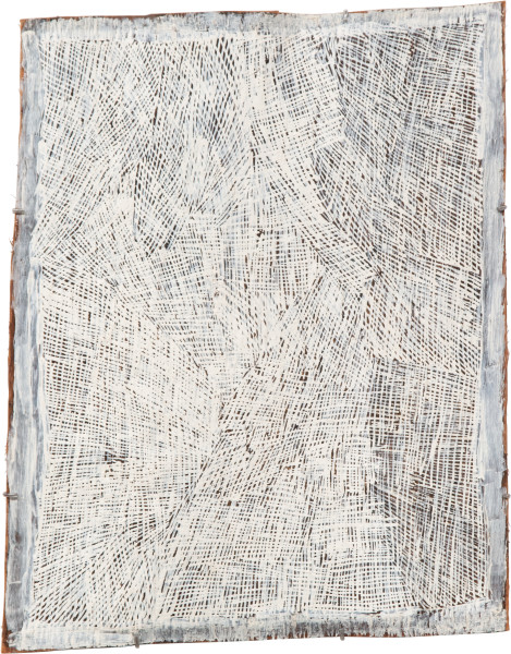 Nyapanyapa Yunupingu 17. White Painting #4, 2009; 3583L; Natural earth pigments on bark; 65 x 80 cm; enquire