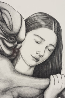 Patricia Piccinini Entwined Affection (detail), 2020; graphite on paper; 57 x 76 cm; 72.5 x 91 cm (framed); enquire
