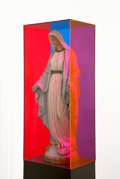 Mikala Dwyer The Letterbox Mary, 2015; Perspex, steel, fabric, mary; 170 x 220 x 300 cm; enquire