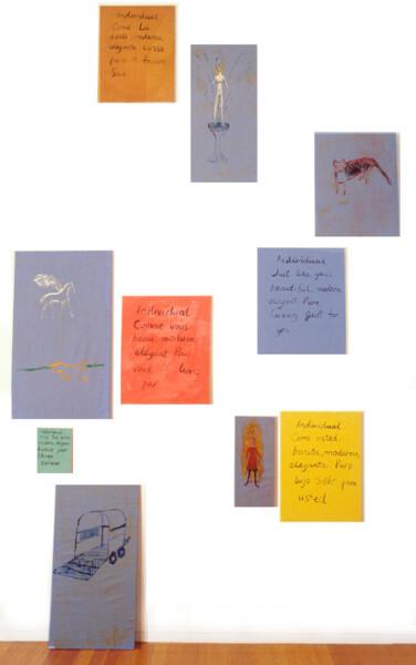 Jenny Watson Blue Set, 1994; Oil on cotton & Indian pigment on stretchers; enquire