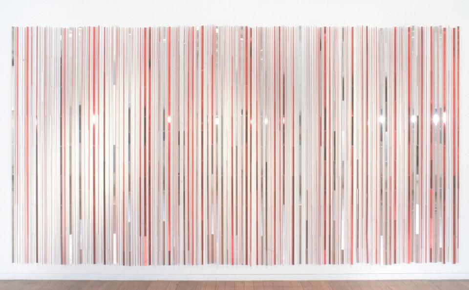 Nike Savvas Red Bordello, 2000; vacuum metalised acrylic and nylon wire; 200 cm x 400 cm (approx); enquire