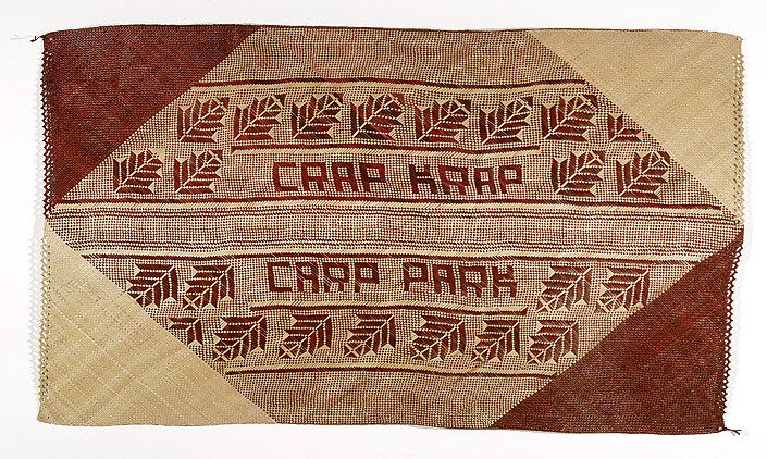 Newell Harry untitled (Crap Krap / Carp Park), 2007; from the series gift mat; Pandanus, dye; 132 x 223 cm; enquire