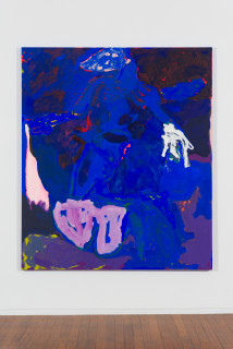 installation view; Tom Polo determined to disappear, 2020; acrylic and Flashe on canvas; 213 x 182 cm; enquire