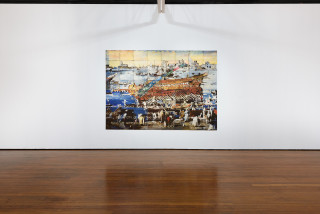 installation view; Imants Tillers Amygdala Hijack, 2019; synthetic polymer paint, gouache on 64 canvasboards, nos. 108378 - 108441; 202 x 283.5 cm; enquire