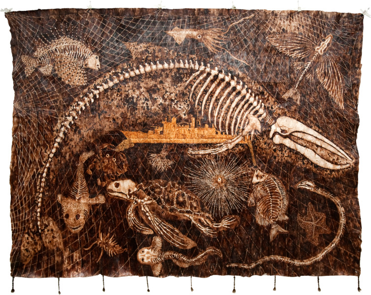 Fiona Hall Ghost Net, 2011; Tongan dye and ochre on bark cloth, feathers, bone; 204 x 240 cm; enquire