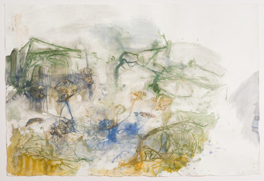 John Wolseley Räkay and Wäkwak, Durabodboi river, 2016; watercolour on paper; 94.5 x 139.5 cm; enquire