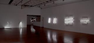 installation view; Bill Culbert Double window, 2009; glass, fluorescent lights, wood, house paint; 120 x 150 x 10 cm; Enquire