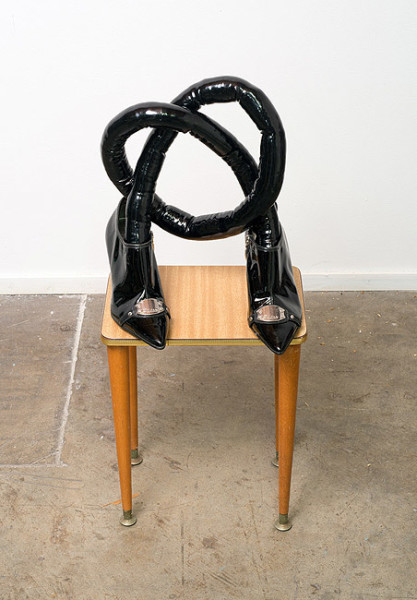 Sarah  Contos Knot of Yes, 2014; PVC, polyfil, Guess patent shoes, upholstery tacks; 33 x 40 x 30 cm; enquire