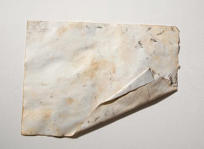 John Wolseley Sunset Ventifact, 2006-10; carbonized wood and watercolour on paper; 38 x 28 cm; enquire