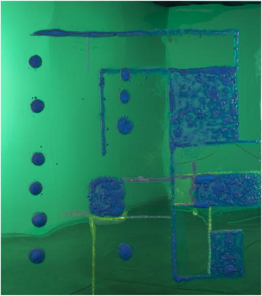 Dale Frank 9 Songs / Geometric Abstraction 2 / Theodore and Epping, 2016; Copper Sulphate crystals and glitter in Liquid Glass on perspex; 200 x 180 cm; enquire