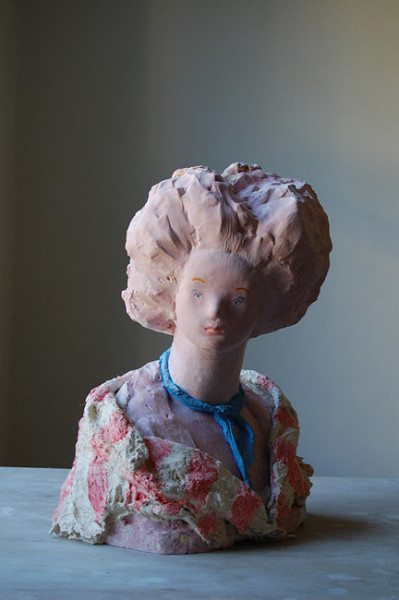 Linda Marrinon Woman with Postiche, 2012; painted plaster; 35 x 24 cm; enquire