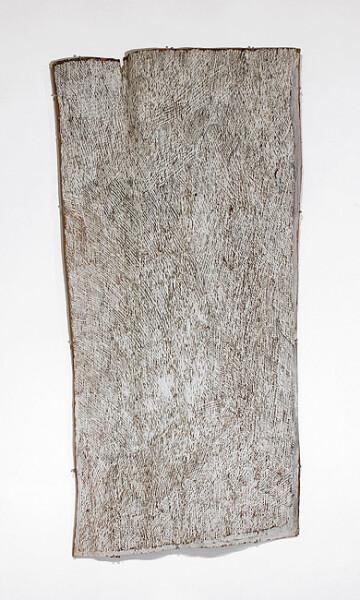 Nyapanyapa Yunupingu White Lines, 2012; 4222Z; natural earth pigments on bark; 149 x 72 cm; enquire
