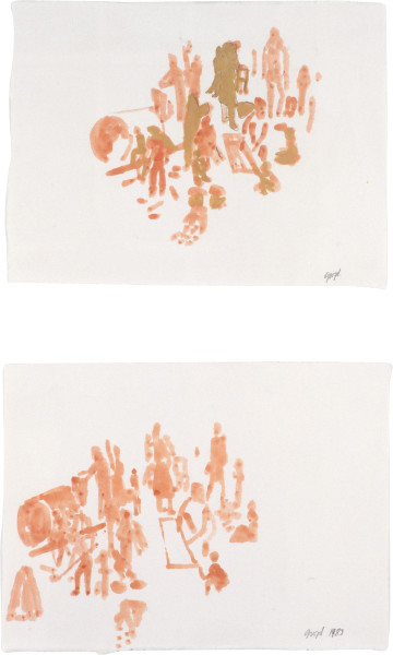 Geoff Lowe Ten People I & II, 1983; gouache and acrylic on paper; 33 x 42 cm; enquire