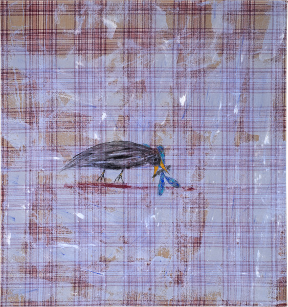 Jenny Watson Bird with an insect, 2014; Japanese pigment tinted gesso on vintage wool with acrylic, pigment and diamantes; 108 x 100.5 cm; enquire