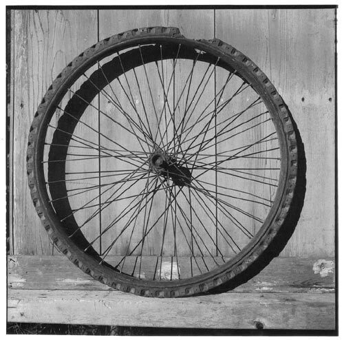 Bill Culbert Bike wheel, solid rubber, piece missing, 2002; Edition of 25; enquire