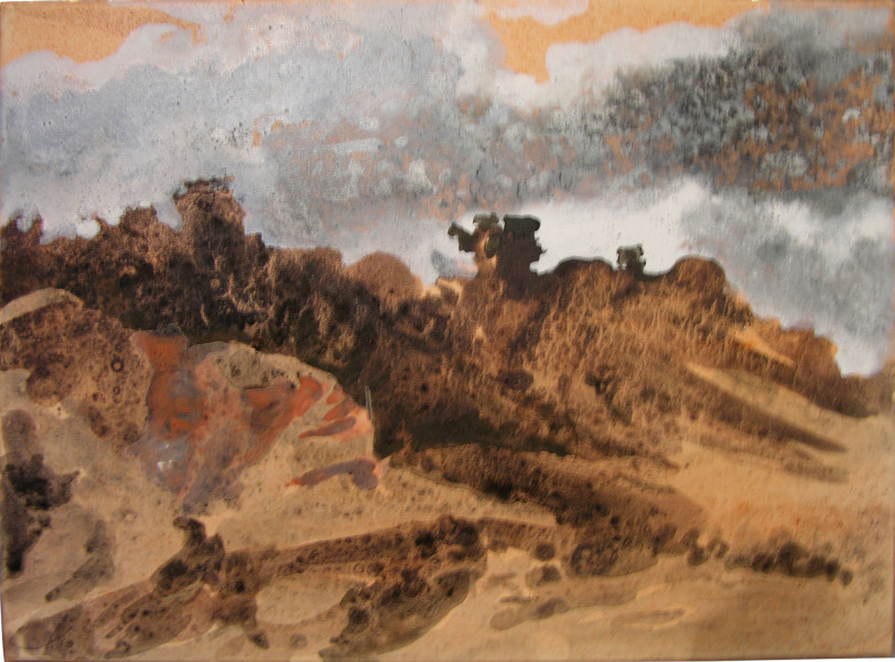 Mandy Martin Near Wyangala 2, 2004; ochre, pigment and acrylic on Arches paper; 30 x 40 cm; enquire