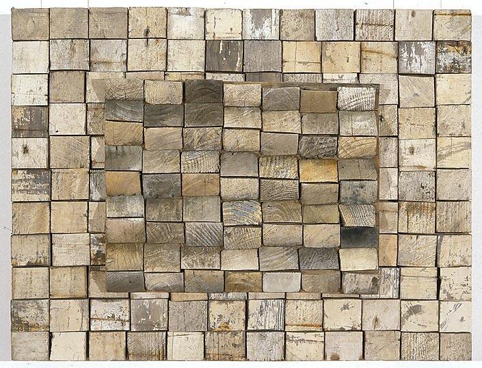 Rosalie Gascoigne Wool Clip, 1995; sawn wood on craftboard; 71 x 93 cm; enquire