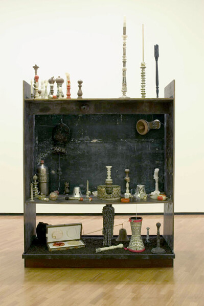 Hany Armanious Turns in Arabba, 2005; clay, wax, wick, pewter, plaster, polyurethane, wood, formply, peppercorns, silicone, ceramic, drums, speaker; 240 x 200 x 60 cm; enquire