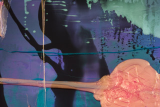 Dale Frank Jason loved nothing better than shoplifting skin colour or sheer high waist nylon laddies underwear from Big W wearing them out of the stores under his cargo pants (detail), 2021; Colour pigment in Easycast, Epoxyglass, on Perspex; 200 x 200 cm; enquire