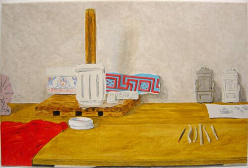 Linda Marrinon Still life with godets and architectural fragments, 2000; oil on canvas; 41 x 61 cm; enquire