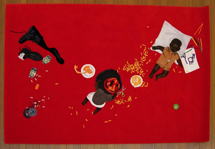 Destiny Deacon Walkover, 2004; wool and viscose carpet; 161 x 240 cm; Edition of 5 + 1 AP; enquire
