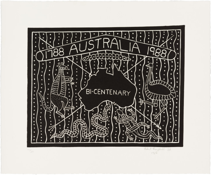 Robert Campbell Jnr Australia Bicentenary, 1986; lino cut; 31 x 40.5 cm; edition of 20; enquire