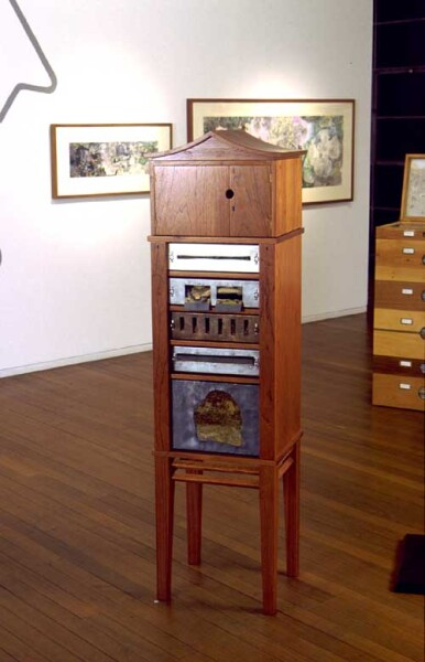 John Wolseley Reliquary Cabinet for a disappearing species Alsomitra vine, 2001; wooden cabinet (made by Linda Fredheim, Furniture Design, Hobart); enquire