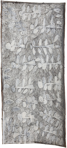 Nyapanyapa Yunupingu Dharpa, 2018; 344-17; natural earth pigments on bark; 155 x 71 cm; enquire