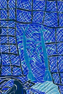 Dhambit Munuŋgurr Gulyalayala (detail), 2020; 3566-20; earth pigments and acrylic on bark; 185 x 83 cm; enquire