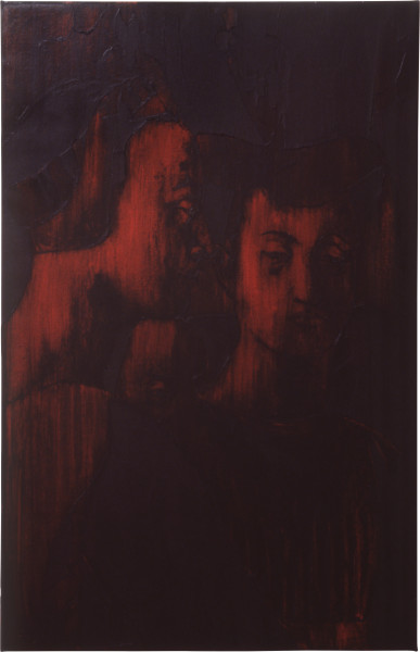 Lindy Lee A Source of an Older Lament, 1992; oil and wax on canvas; 109 x 97 cm; enquire