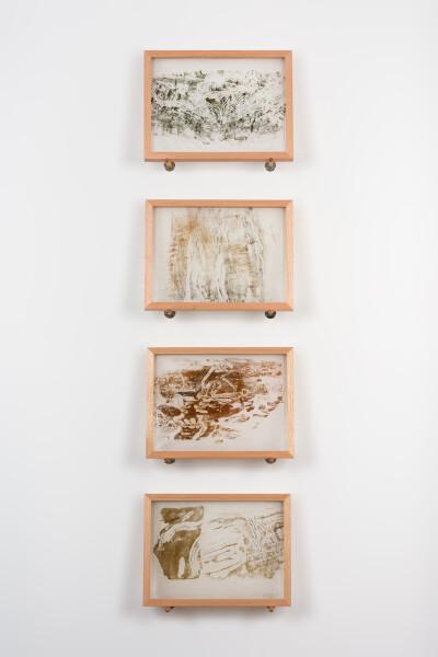 John Wolseley Longicorn Beetle engravings, 2019; relief print found wood on Japanese tissue; 30.5 x 40.5 cm each; Enquire