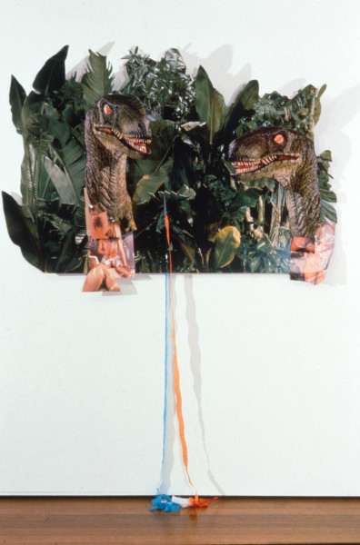 Dale Frank The Two Headed Cunt from the Lost World, 1997; printed cardboard and paper and streamers; 106 x 150 cm; enquire
